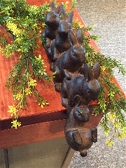5 Rabbits Shelf Sitter-Rabbit, Bunny, Resin, Shelf Sitter, Easter, Dangle, Brown Resin Rabbit