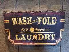 Small Wash and Fold Laundry Sign-Laundry, Sign, Metal, Vintage