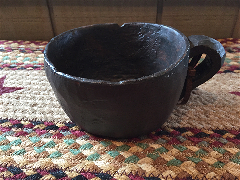 Treen Mug with Handle-Treen, Mug, Primitive, Wood Look